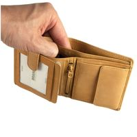 Branco – Small wallet / billfold size S for men made out of leather, upright format, beige, model 12057-3