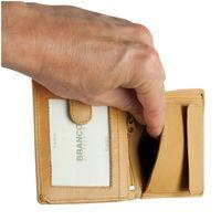 Branco, 12057 - Kleine Geldbörse bzw. kleines Portemonnaie für Herren aus Leder in beige, Detailansicht Zusatz-Einsteckfach - 04