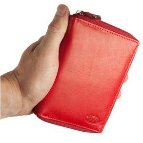 Branco – Große Geldbörse / Portemonnaie Größe L für Damen aus Leder, Rot, Modell 230