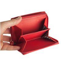Branco, 230 - Große Geldbörse bzw. großes Portemonnaie aus Leder in rot, Aufgeklappt, Detailansicht Münzfächer  - 02