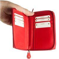 Branco, 230 - Große Geldbörse bzw. großes Portemonnaie aus Leder in rot, Aufgeklappt, Detailansicht Kartenfächer  - 03