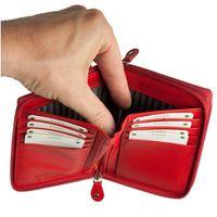 Branco, 230 - Große Geldbörse bzw. großes Portemonnaie aus Leder in rot, Aufgeklappt, Detailansicht Geldscheinfach  - 04