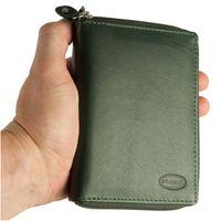Branco – Große Geldbörse / Portemonnaie Größe L für Damen aus Leder, Jäger-Grün, Modell 230