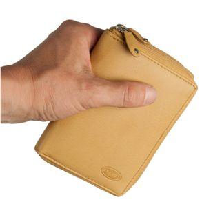 Branco, 230 - Große Geldbörse bzw. großes Portemonnaie aus Leder in beige, Frontansicht - 01