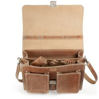 Hamosons – Classic briefcase / teacher bag size L made out of leather, natural brown two-tone, model 651