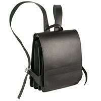 Jahn-Tasche – Medium-sized leather backpack / teacher backpack size M made out of leather, black, model 668