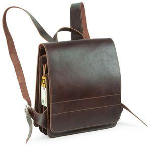 Jahn-Tasche, 668 - Mittelgroßer, brauner Lederrucksack bzw. Lehrerrucksack, Seitenansicht - 01