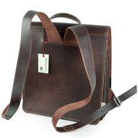 Jahn-Tasche, 668 - Mittelgroßer, brauner Lederrucksack bzw. Lehrerrucksack, Rückansicht mit Schulterriemen - 04