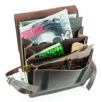 Jahn-Tasche, 668 - Mittelgroßer, brauner Lederrucksack bzw. Lehrerrucksack, Aufsicht geöffnet, Inhalt A4-Ordner - 03