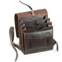 Jahn-Tasche, 668 - Mittelgroßer, brauner Lederrucksack bzw. Lehrerrucksack, geoeffnet von vorne - 02