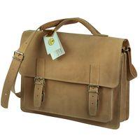 Hamosons, 605 - Klassische, beige Aktentasche bzw. Lehrertasche, Seitenansicht - 02