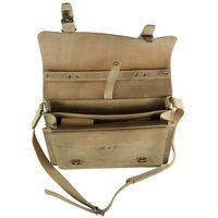Hamosons, 605 - Klassische, beige Aktentasche bzw. Lehrertasche, Aufsicht geöffnet, Detailansicht Organizer-Leiste - 03