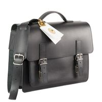Hamosons – Lässige Aktentasche / Lehrertasche Größe M aus Leder, Schwarz, Modell 605