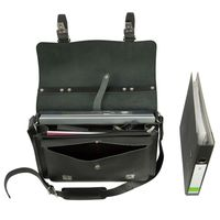 Hamosons – Medium sized briefcase / teacher bag size M made out of leather, black, model 605-4