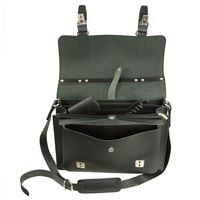 Hamosons – Medium sized briefcase / teacher bag size M made out of leather, black, model 605-3