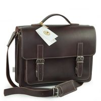Hamosons – Medium sized briefcase / teacher bag size M made out of leather, brown, model 605