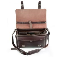 Hamosons – Medium sized briefcase / teacher bag size M made out of leather, brown, model 605-2