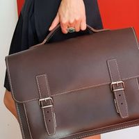 Hamosons – Medium sized briefcase / teacher bag size M made out of leather, brown, model 605-13