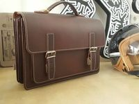 Hamosons – Medium sized briefcase / teacher bag size M made out of leather, brown, model 605-9