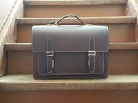 Hamosons – Medium sized briefcase / teacher bag size M made out of leather, brown, model 605-8