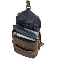 Harolds 258102 - Brauner Vintage Lederrucksack bzw. Retro Laptop Rucksack bis 15 Zoll, Aufsicht geöffnet mit A4-Ordner und Laptop - 02
