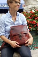 Harolds – Small leather backpack size S / handbag backpack made out of leather, rust red, model 255802-10