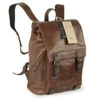 Harold's – Elegant Leather Backpack / Daypack, Brown, Model 223902