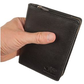 Branco – Large wallet / billfold size L for men made out of leather, upright format, black, model 35009