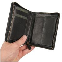 Branco – Large wallet / billfold size L for men made out of leather, upright format, black, model 35009-2