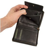 Branco – Large wallet / billfold size L for men made out of leather, upright format, black, model 35009-5