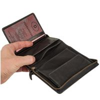 Branco – Large wallet / billfold size L for men made out of leather, upright format, black, model 35009-3