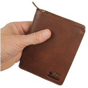 Branco, 35009 - Große Geldbörse bzw. großes Portemonnaie für Herren aus Leder in Braun, Frontansicht - 01