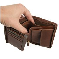 Branco – Large wallet / billfold size L for men made out of leather, upright format, brown, model 35009-3