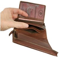 Branco – Large wallet / billfold size L for men made out of leather, upright format, brown, model 35009-2