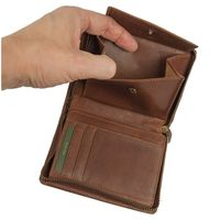 Branco – Large wallet / billfold size L for men made out of leather, upright format, brown, model 35009-4