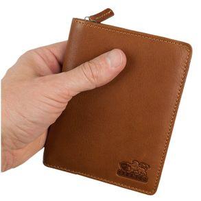 Branco, 35009 - Große Geldbörse bzw. großes Portemonnaie für Herren aus Leder in Cognac-Braun, Frontansicht - 01