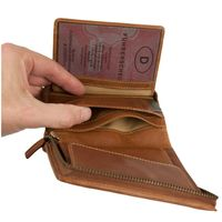 Branco – Large wallet / billfold size L for men made out of leather, upright format, cognac brown, model 35009