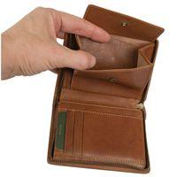 Branco, 35009 - Große Geldbörse bzw. großes Portemonnaie für Herren aus Leder in Cognac-Braun, Detailansicht Münzfach - 05