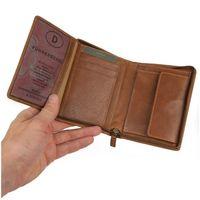 Branco, 35009 - Große Geldbörse bzw. großes Portemonnaie für Herren aus Leder in Cognac-Braun, Frontansicht aufgeklappt - 02