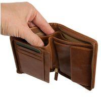 Branco, 35009 - Große Geldbörse bzw. großes Portemonnaie für Herren aus Leder in Cognac-Braun, Detailansicht Gelscheinfächer - 04