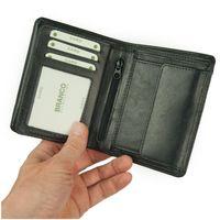 Branco, 12005 - Große Geldbörse bzw. großes Portemonnaie für Herren aus Leder in schwarz, Frontansicht  aufgeklappt- 02