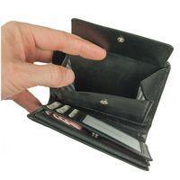 Branco, 12005 - Große Geldbörse bzw. großes Portemonnaie für Herren aus Leder in schwarz, Detailansicht Münzfach - 05