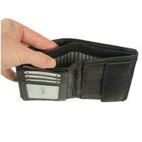 Branco – Large wallet / billfold size L for men made out of leather, upright format, black, model 12005