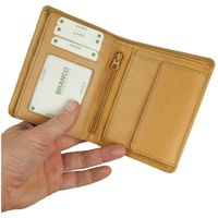 Branco – Large wallet / billfold size L for men made out of leather, upright format, beige, model 12005-2