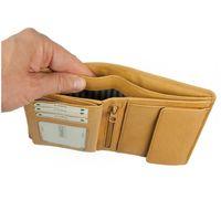 Branco, 12005 - Große Geldbörse bzw. großes Portemonnaie für Herren aus Leder in Natur-Beige, Detailansicht Geldscheinfächer - 04
