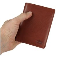 Branco – Large wallet / billfold size L for men made out of leather, upright format, brown, model 12005