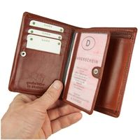 Branco – Large wallet / billfold size L for men made out of leather, upright format, brown, model 12005-2