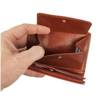 Branco – Large wallet / billfold size L for men made out of leather, upright format, brown, model 12005-5