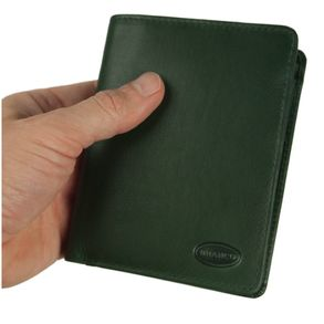 Branco – Large wallet / billfold size L for men made out of leather, upright format, hunter's green, model 12005