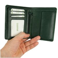 Branco – Large wallet / billfold size L for men made out of leather, upright format, hunter's green, model 12005-2